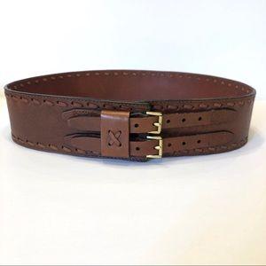 Brown Double Buckle Corset Belt